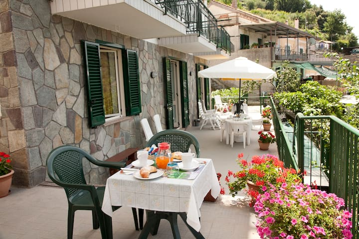 Shared terrace where you can read, tan, relax and enjoy your breakfast