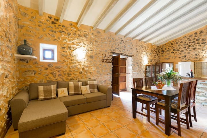 Can Guapo. Rustic style house with pool in Llubi.