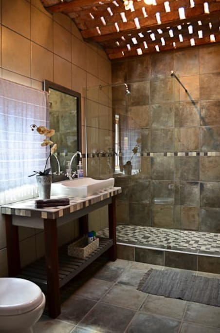 Spacious Luxury shower with natural lit ceiling