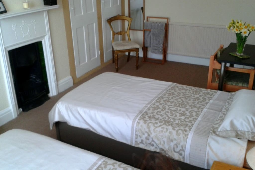 Light, bright, large twin room with 2  nice comfy beds, TV, DVD, free Wifi and table for laptop etc