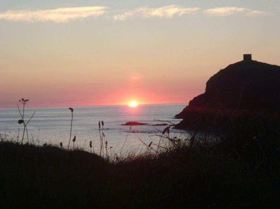 Sunset at Abereiddy beach.