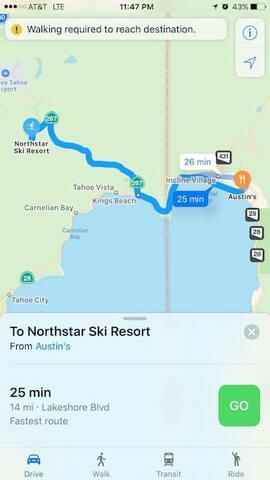 25 min drive to Northstar Ski Resort