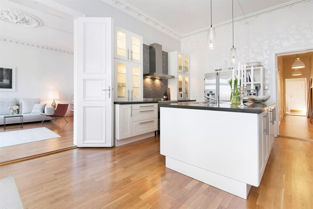Kitchen with full appliances and nespresso machine