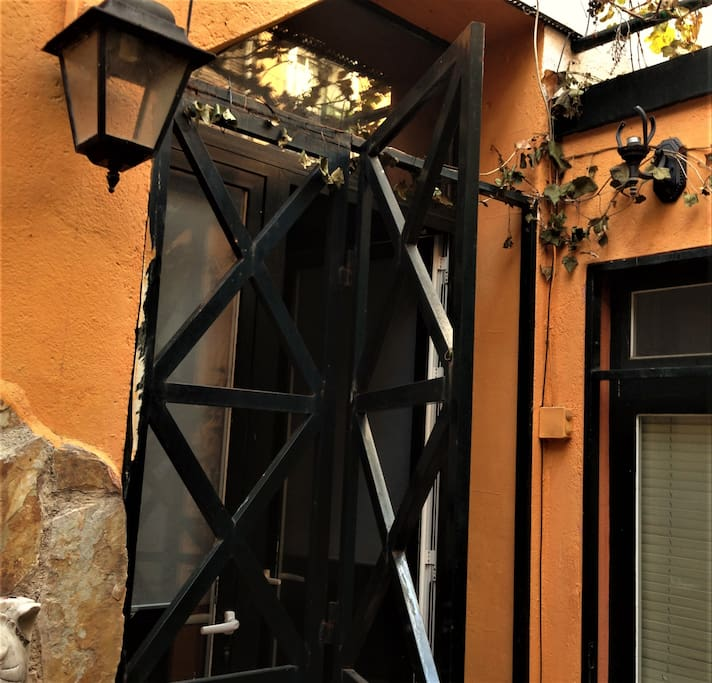 Two gates and a blind give the property privacy.