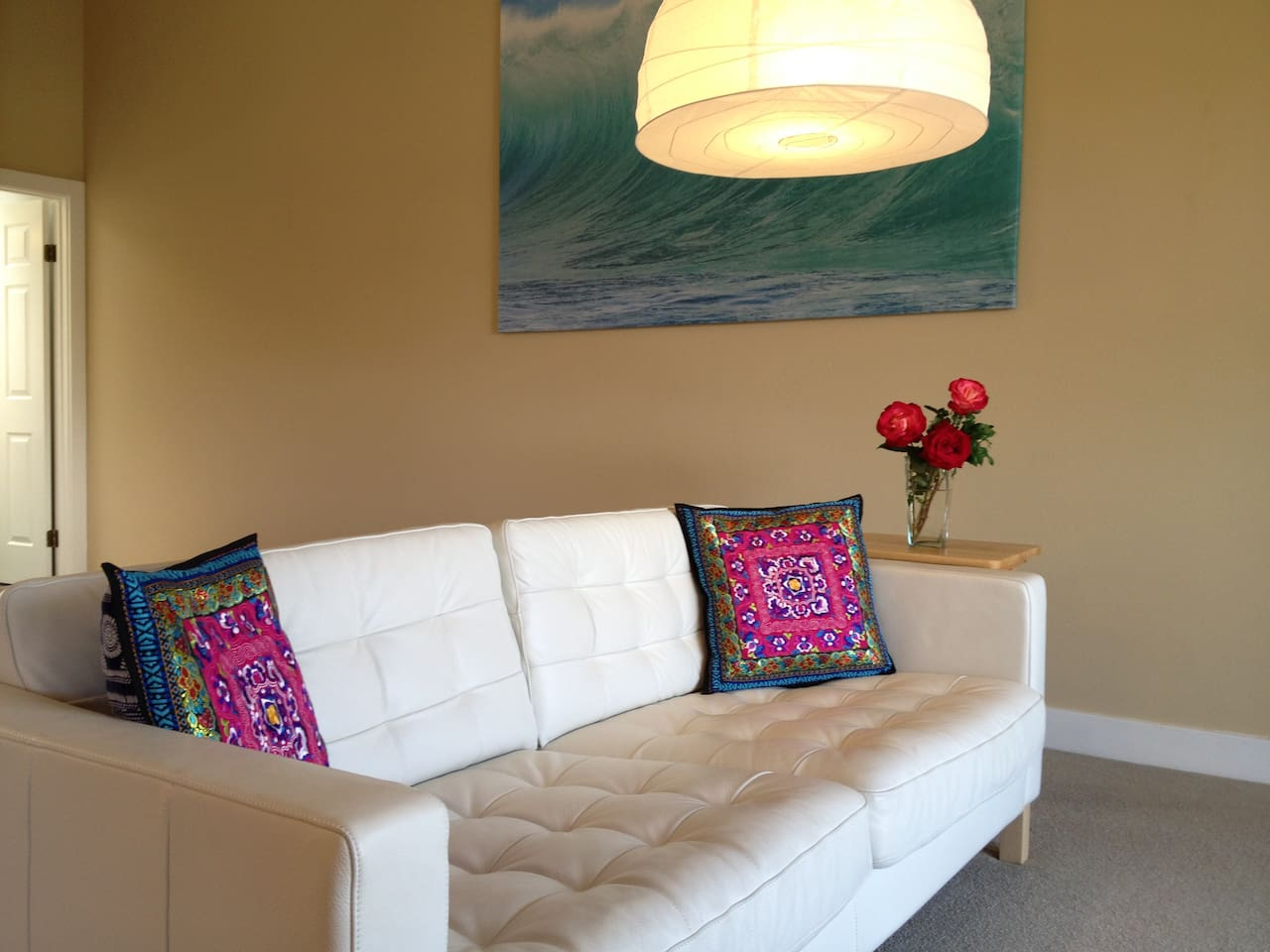 living room: new leather couch