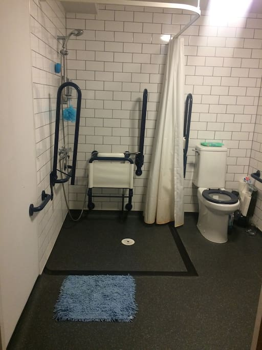 A large ensuite disabled bathroom with a very powerful HOT shower, perfect for a morning wash or evening blast before bed.
