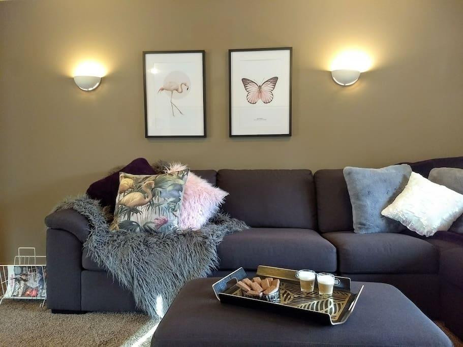 Large corner sofa equals sunny coffee spot