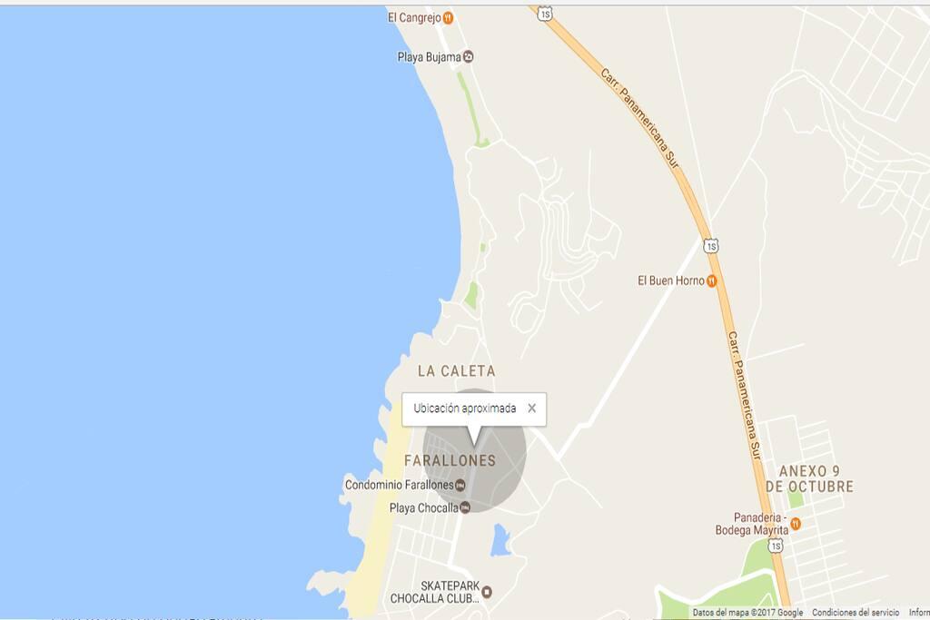 Mapa de ubicación    Condominio Quebrada del Mar, casa C-10, Playa Chocaya, Km. 92.5 , Distrito Asia, Provincia Cañete, Lima -Perú.