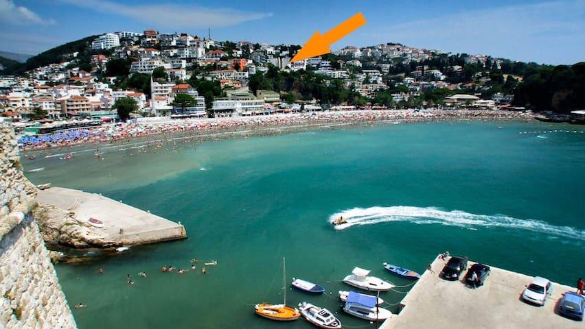 Beautiful sunny, sea view studio + balcony S2 - Ulcinj - Rumah