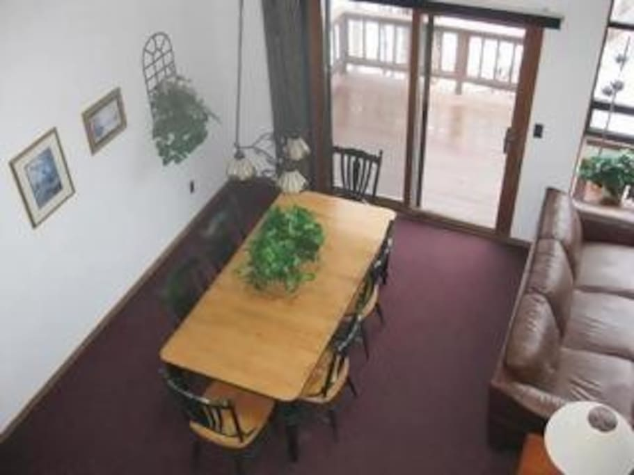 Beautiful open space with high ceilings. Lots of room to enjoy a family meal slope side to ski mountain.