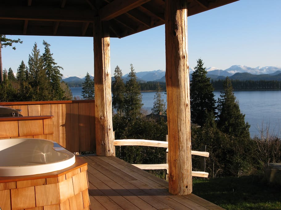 Enjoy the 2-person, freshwater, soaker tub on the veranda in any weather.