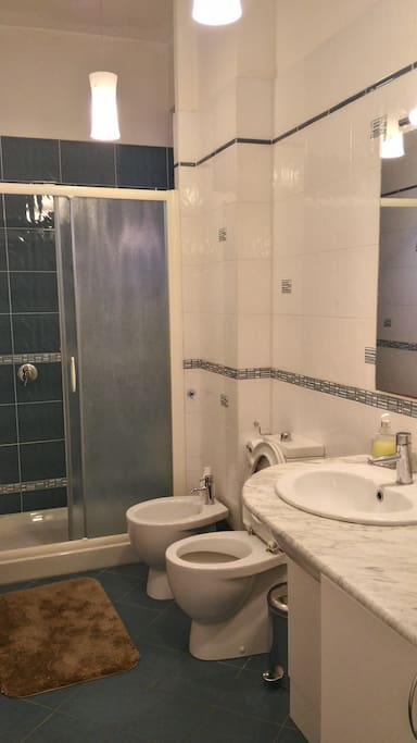 Bathroom with big shower and washing machine