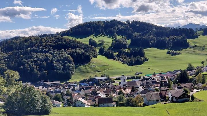 Sonnige Säntisblickwohnung in hügeliger Landschaft