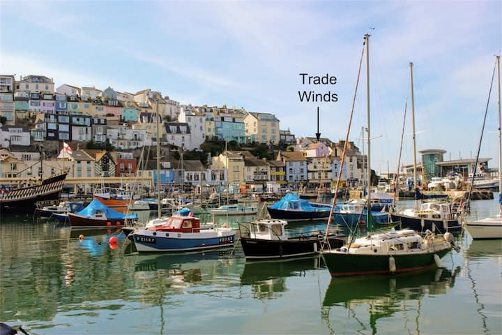 Brixham cottage (Tradewinds) harbour and sea views