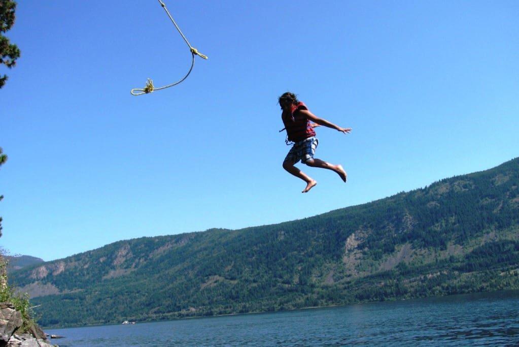 Rope swing into lake