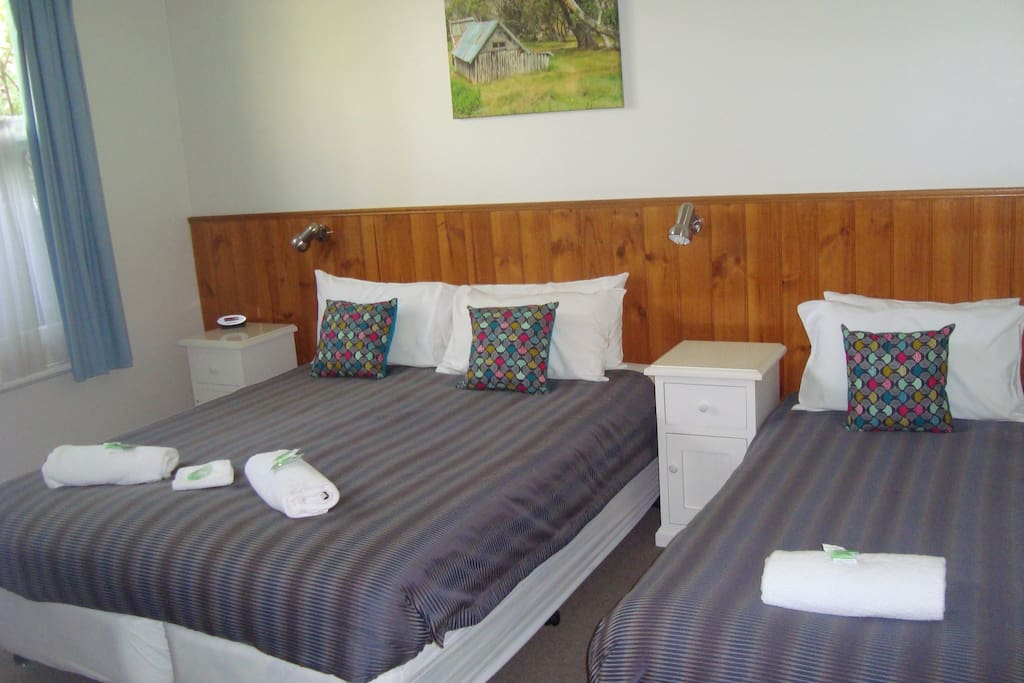 Bedroom two has a queen and a single bed.