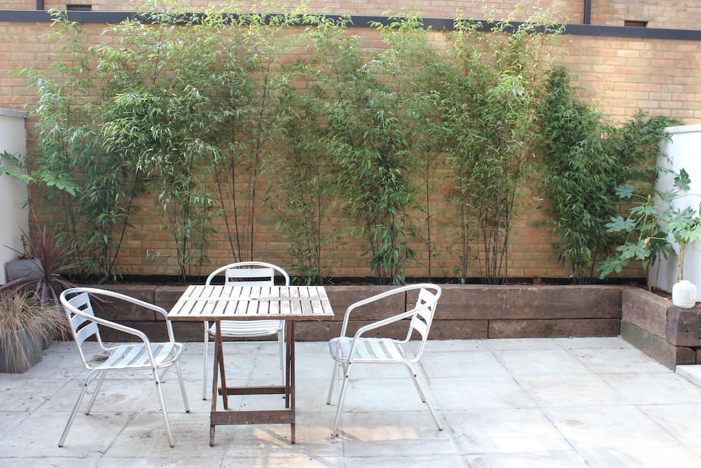Private, south-facing patio garden with mature bamboo, garden table and chairs