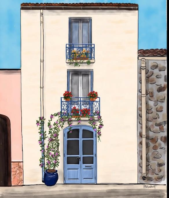 Rendition of the lovely historic facade of your Argeles village rental