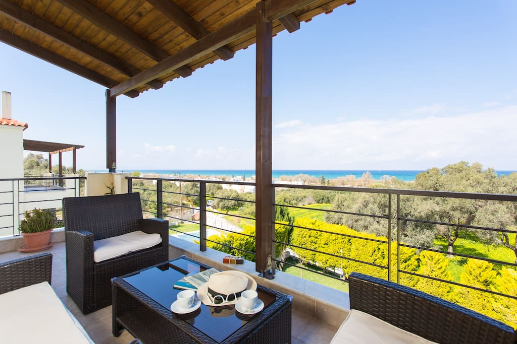 First floor balcony with sea views.