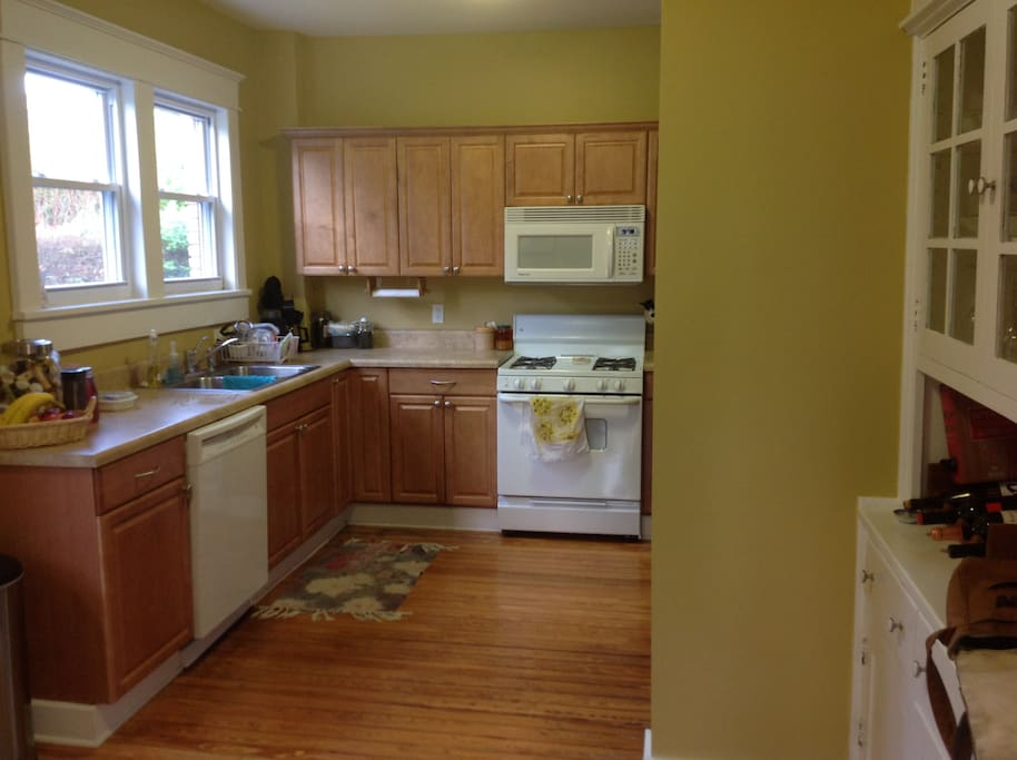 Galley kitchen is stocked for multiple cooks!  Dishwasher, range, stainless refrigerator/freezer, and microwave in kitchen can be used when you would rather eat at NashVilla or just enjoy a cup of morning coffee which is supplied