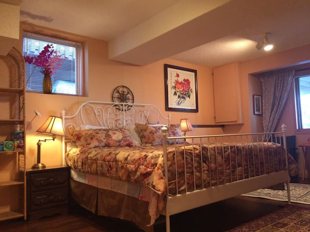 Large cozy room with king bed, sofa bed, and view
