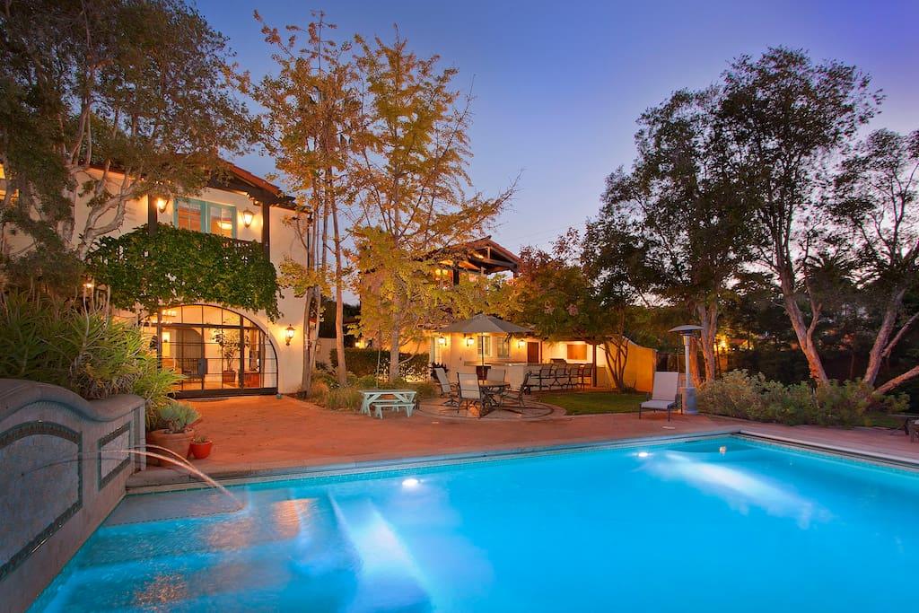 Enjoy the magic of California nights in a classic Spanish Hacienda.