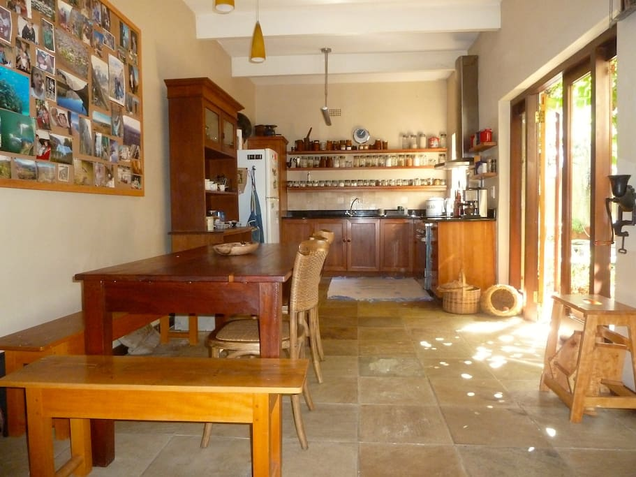 Kitchen-dining area, opening onto the courtyard.