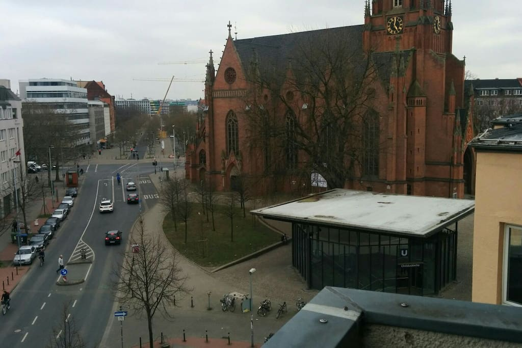View from the balcony. Glass building on the right is the U-bahn (Tram) station. On the top left corner is the taxi stand