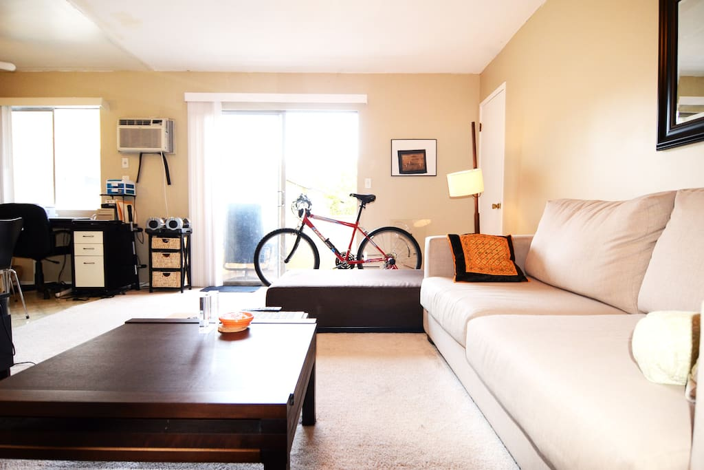 Room stays cool with ceiling fans and/or an AC unit.  Enjoy the balcony or cable TV