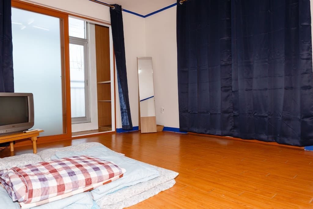 Bedroom with Korean floor style sleeping.