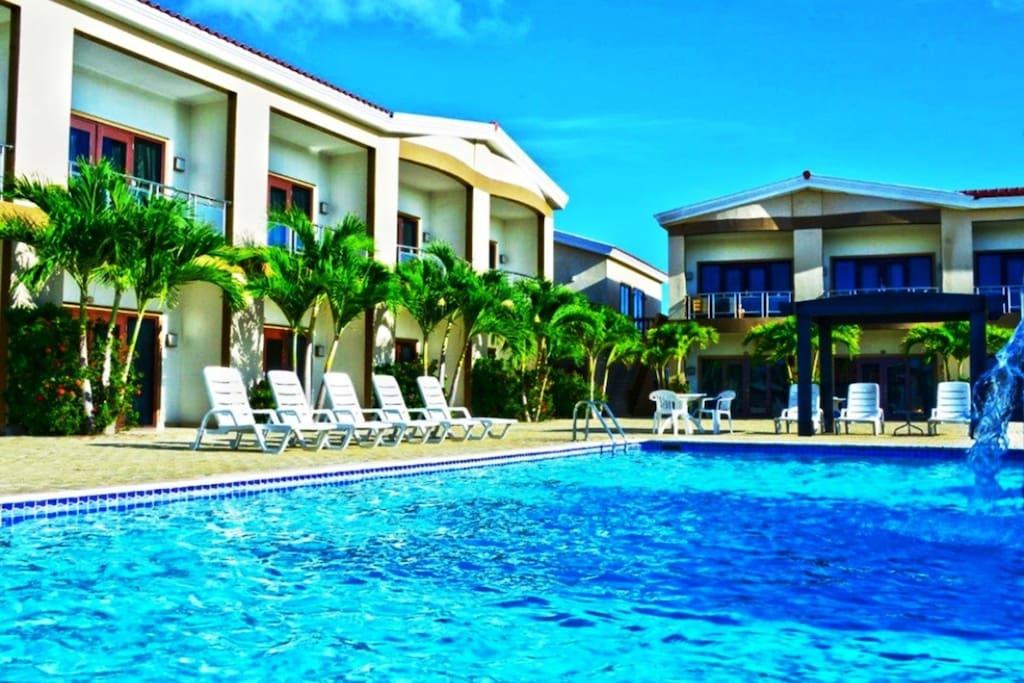 The Big Pool.  One of 2 Pools In Aruba Breeze Condo Hotel.