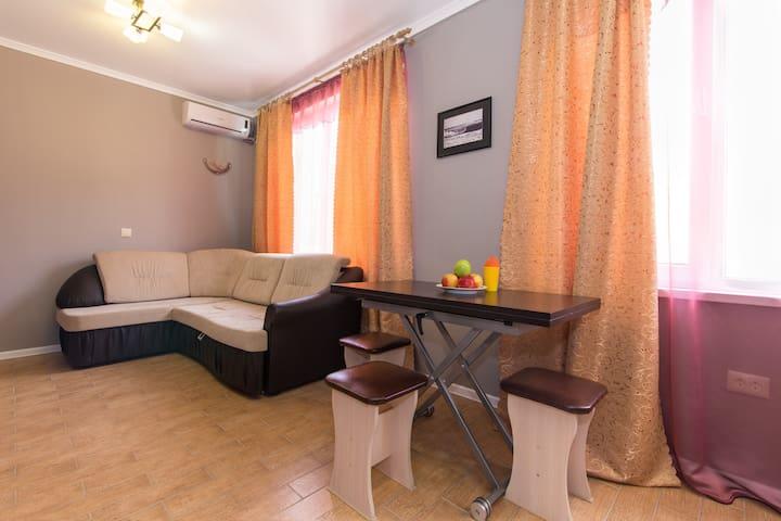Гостиная: диван раздвижной на 2х людей, телевизор с подключенными кабельными каналами