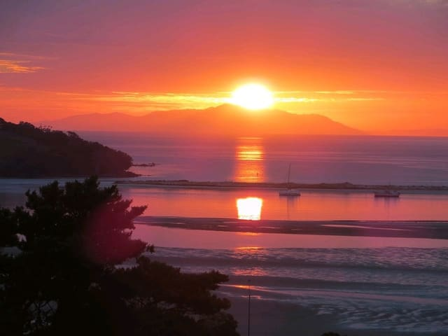 Sunrise from our property overlooking Ti Point and the Coromandel in the distance