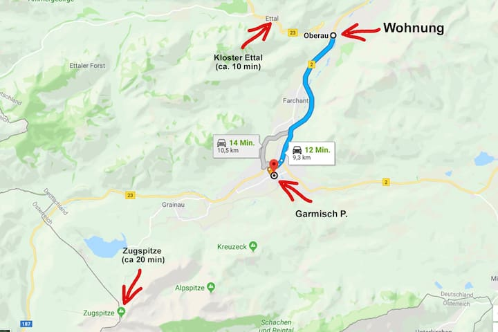Garmisch P. is by car 12min from the apartment. Kloster Ettal you can reach within 10min by car. Zugspitze is 20 min from the apartment. Basically the traffic connections from Oberau is really good. You can reach all the hotspots within minutes.