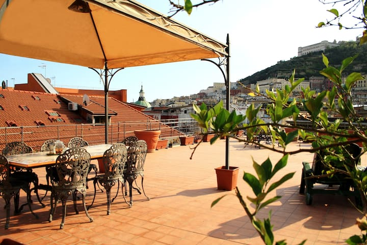 Flat and panoramic terrace in Naples: Ninì's Attic