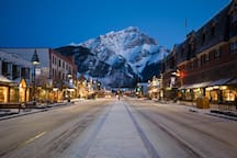 After a fantastic day, stroll down the streets of Banff town centre and take in the awe-inspiring Cascade Mountain.