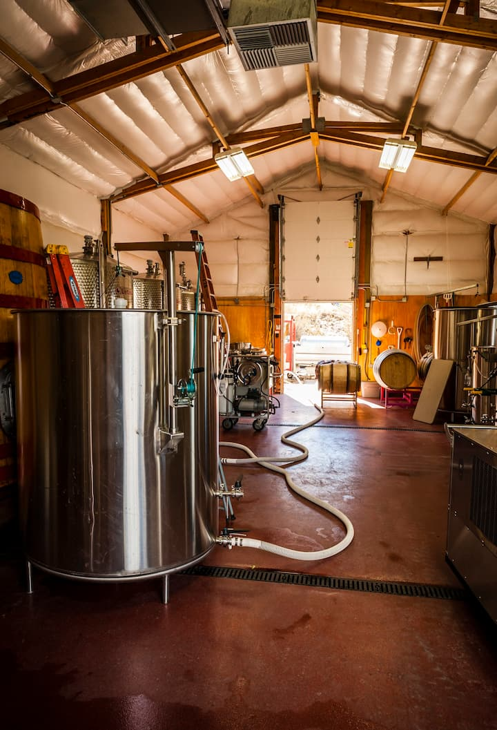 Explore the winery production building