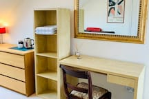 Desk / dressing table with chair and plugs for computer or hair dryer etc.