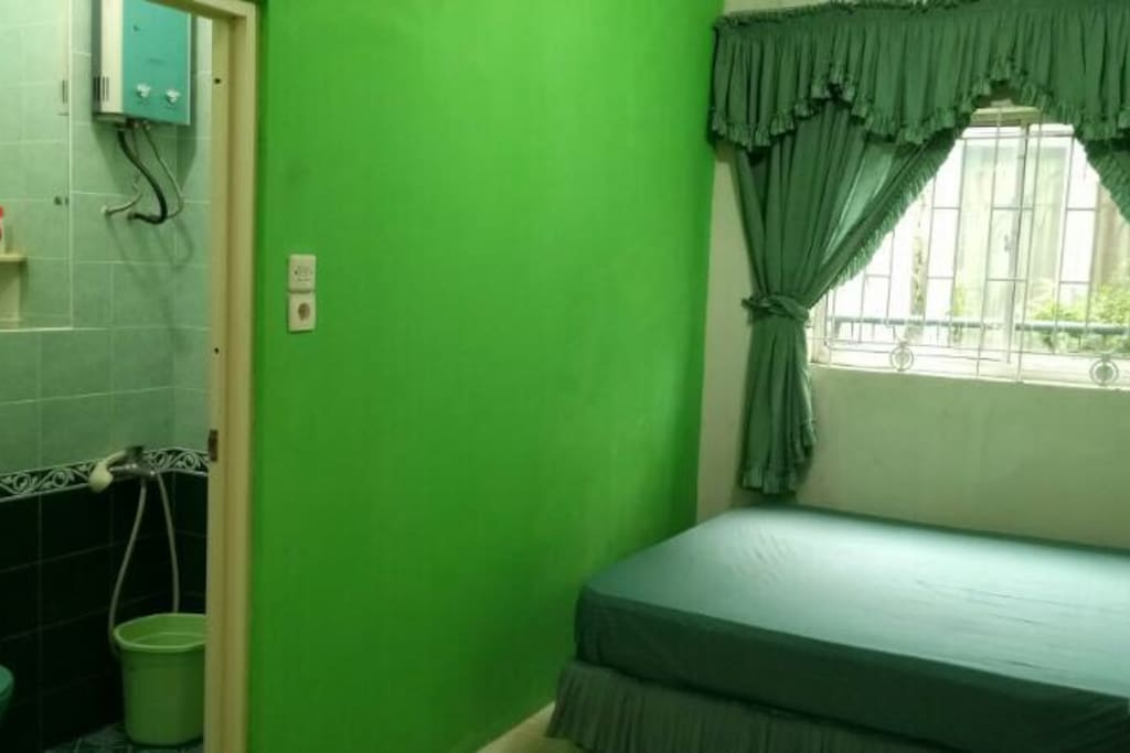 Room with indoor bathroom