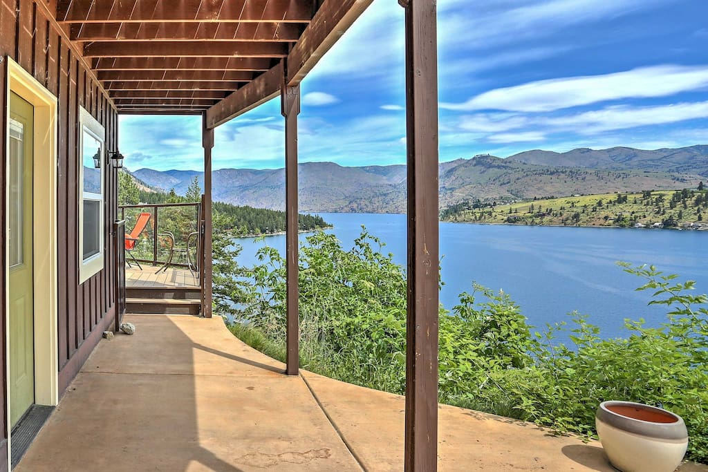This property is truly a one-of-a-kind getaway nestled in the mountainside and offers unparalleled views of Lake Chelan and the Chelan-Sawtooth Mountains right outside your window!