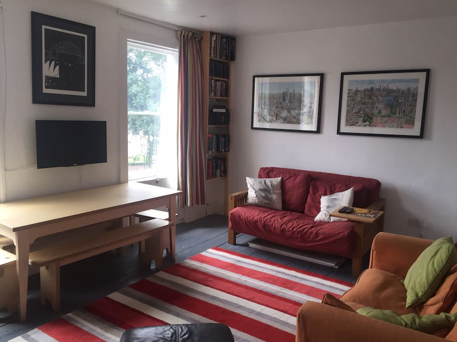 Futon/Sofa bed in large sunny living room