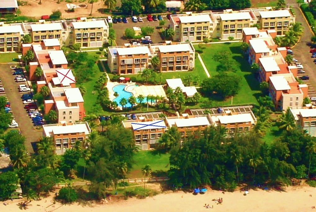 (Aerial View) The location of this villa is the building with a red x