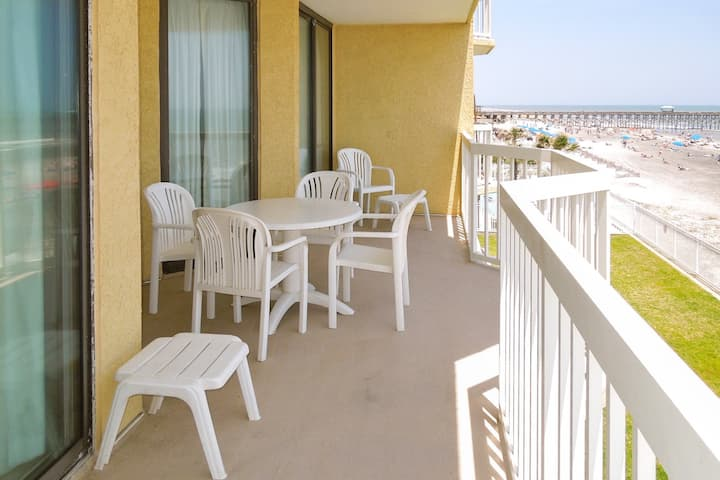 Oceanfront second-floor villa just steps from the beach w/ balcony & shared pool