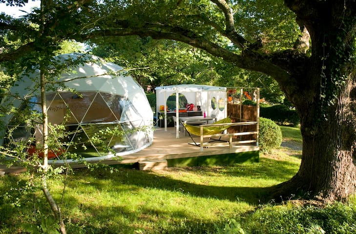 Domes in the heart of the campsite