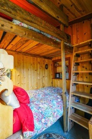 Two large twin built in bunk beds. Hidden in the kitchen house. A screen offers additional privacy. Each bunk has a light and a plug .