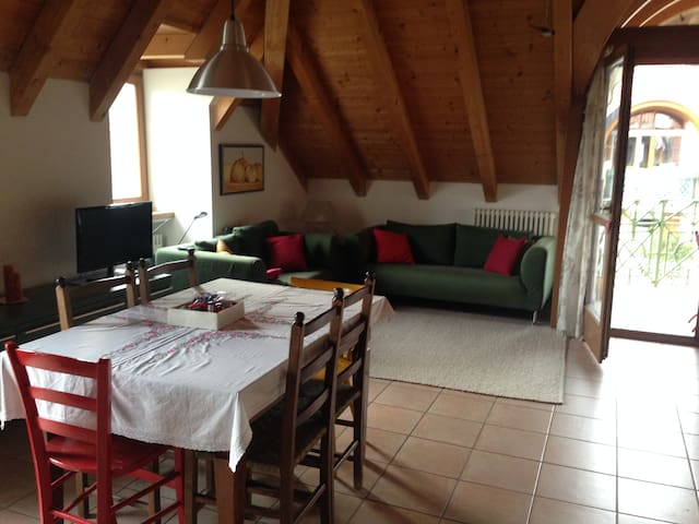 Wohnung im letzten Stock, sehr hell, viel Holz - San Michele - Lägenhet