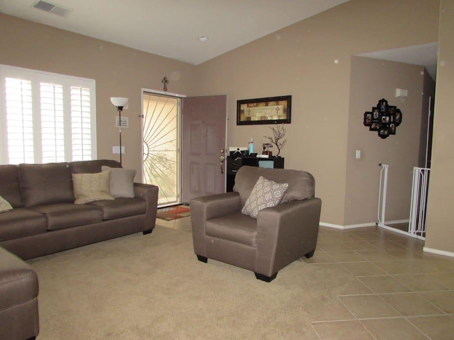 Living room with security door
