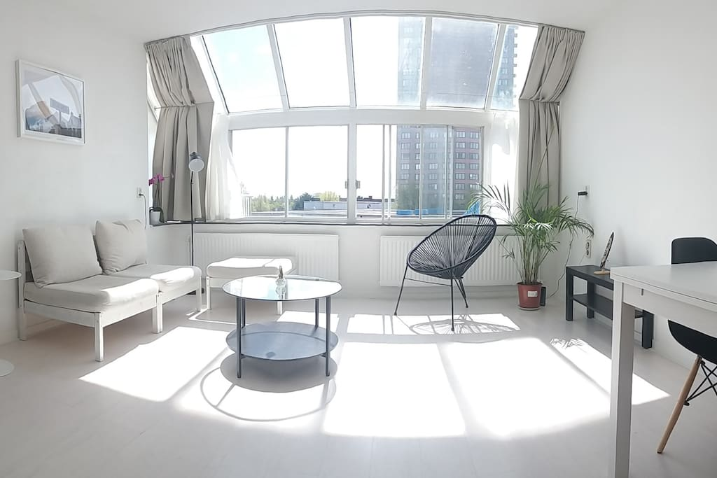 Sunny living room with privacy
