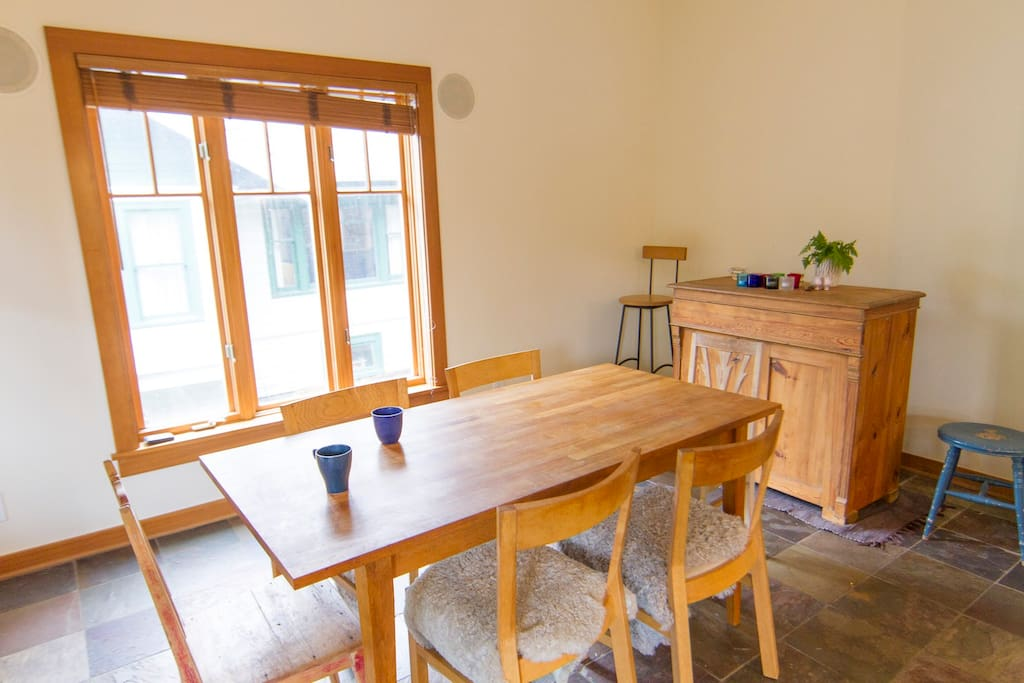 Open dining area adjoining kitchen.