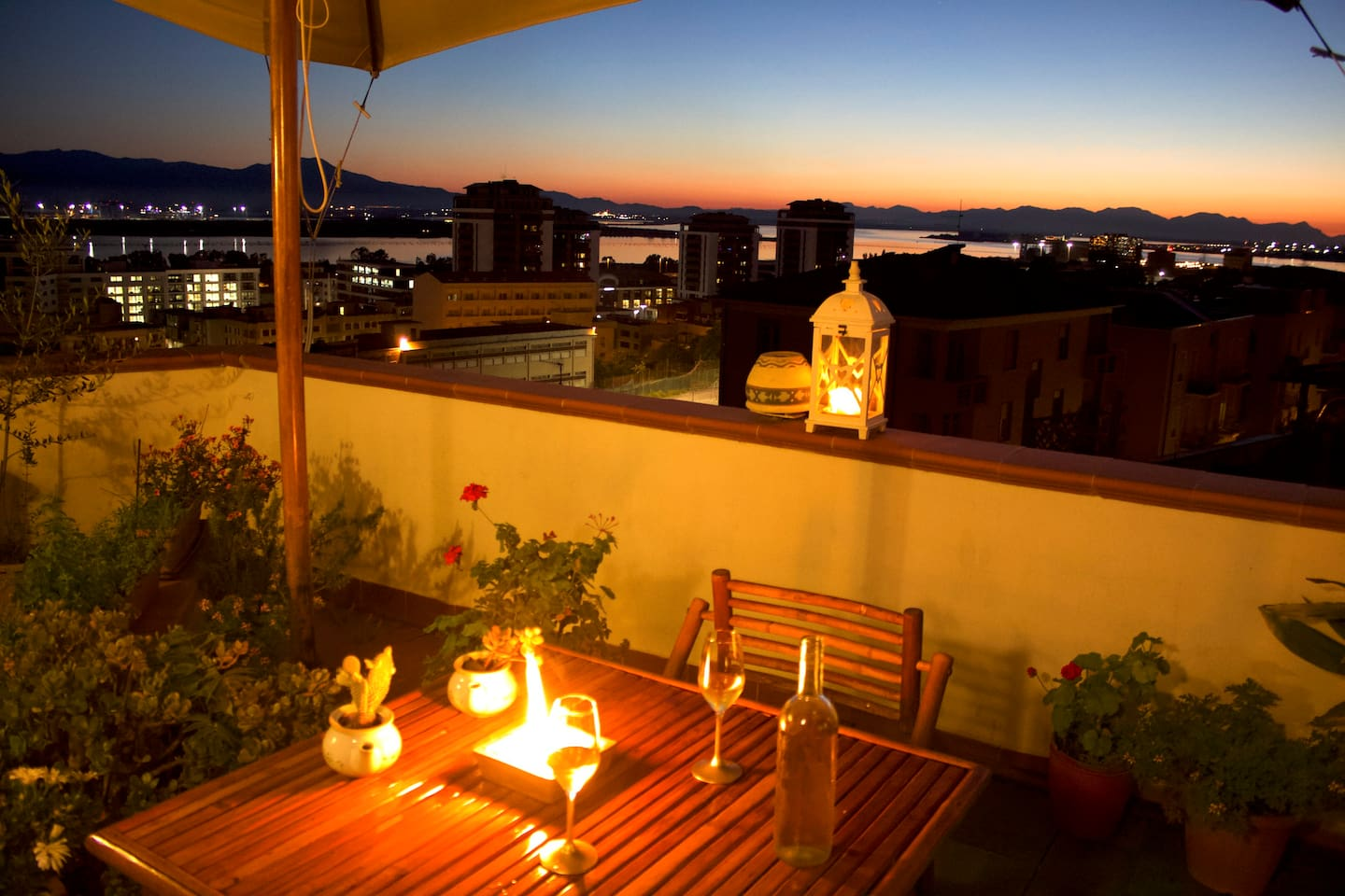 The view at sunset from the terrace on Cagliari salt lakes.